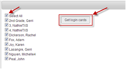 Print out login information.